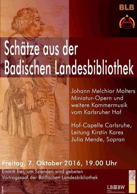 Plakat Carlsruher Hofmusik am 7. Oktober 2016
